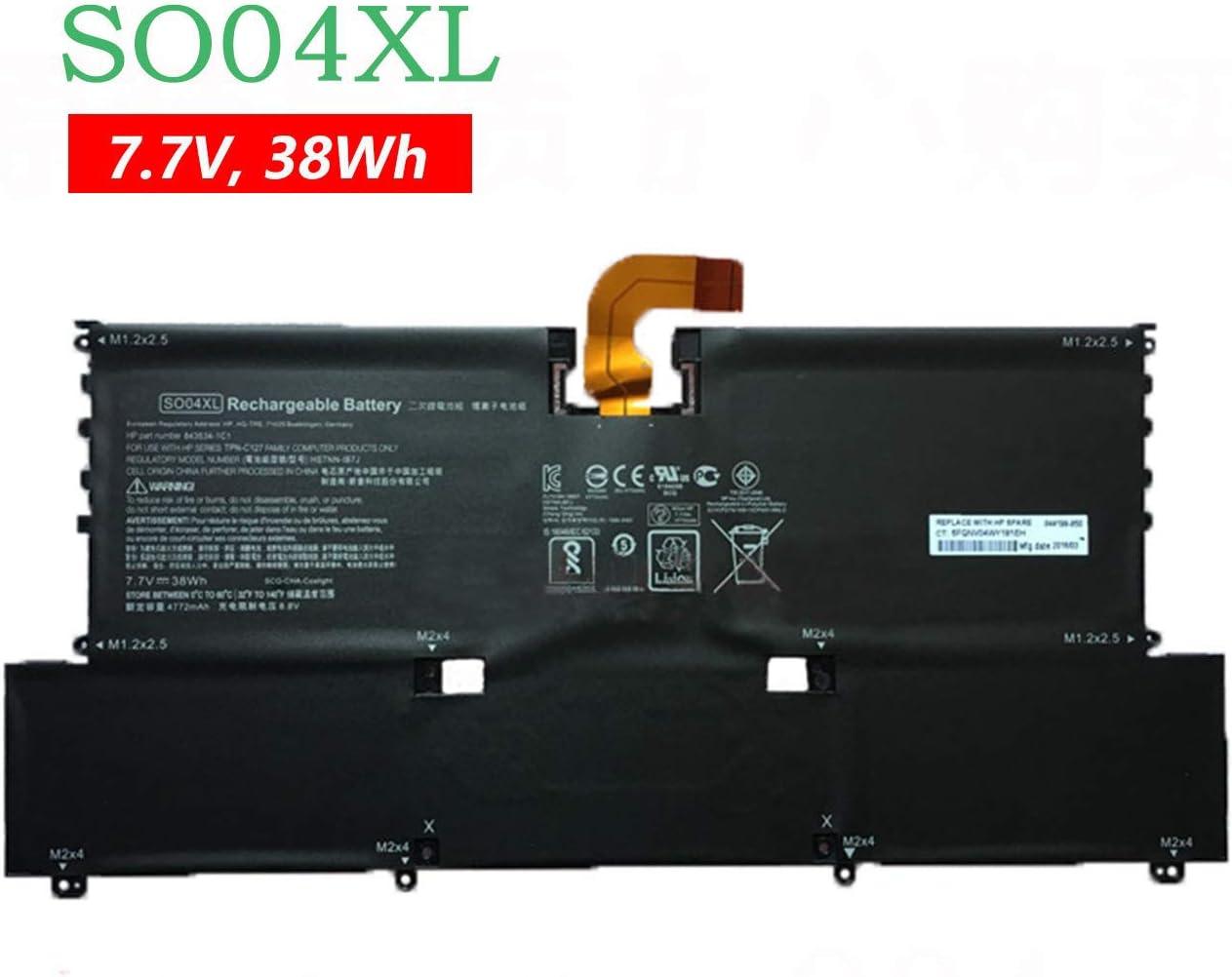 BOWEIRUI SO04XL (7.7V 38Wh 4950mAh) Laptop Battery Replacement for Hp Spectre 13 13-V016TU 13-V015TU 13-V014TU 13-V000 Series SOO4XL S004XL 844199-855 843534-1C1 HSTNN-IB7J TPN-C127 (Connector 2)