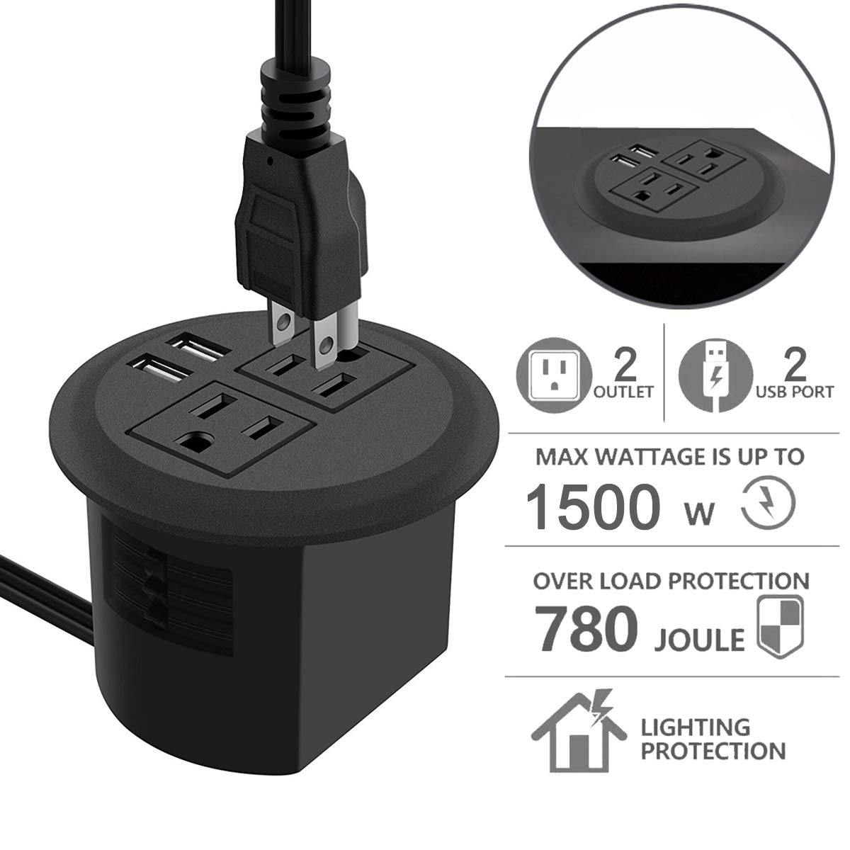 Desktop Power Grommet with USB,Recessed Power Socket with 2 AC Outlets and 2 USB Charging Ports. Desk Grommet Outlet 3in Hole,for Kitchen Table/Conference Room Outlet by Jgstkcity