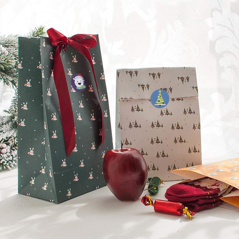 VERLOCO Etiqueta Adhesiva De Decoraci/ón Navide/ña 500 Hojas Adhesivo Redondo De Navidad Para Tarjetas De Felicitaci/ón Ramos Etiqueta De Navidad Bolsas De Caramelos Embalajes(2.5cm)