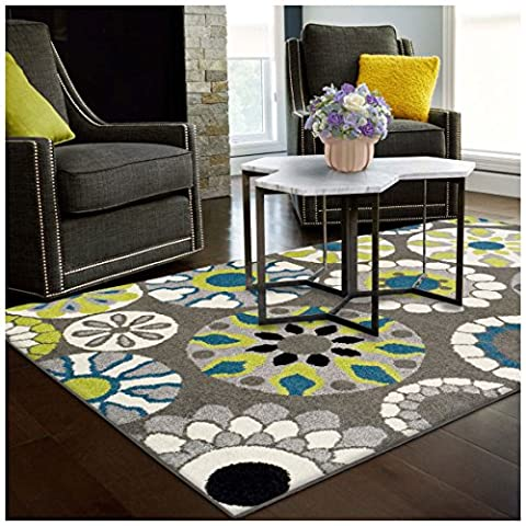 Superior Medallion Collection Area Rug, 6mm Pile Height with Jute Backing, Affordable Contemporary Rugs, Beautiful and Colorful Medallion Pattern - 5' x 8' Rug, Black, Grey, Blue, and Light (Blue And Green Bedroom Rugs)