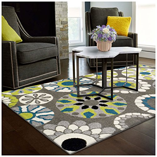 Superior Medallion Collection Area Rug, 6mm Pile Height with Jute Backing, Affordable Contemporary Rugs, Beautiful and Colorful Medallion Pattern - 5' x 8' Rug, Black, Grey, Blue, and Light Green ()