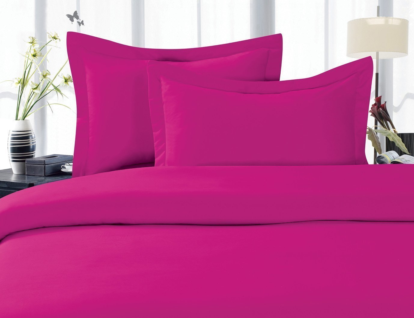 4-Piece Bed Sheet set, Deep Pocket, HypoAllergenic - Queen Hot Pink