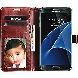 Bracevor Samsung Galaxy S7 Edge Premium Leather Flip Case, Inner TPU, Wallet Card Slots, Stand Cover- Executive Brown