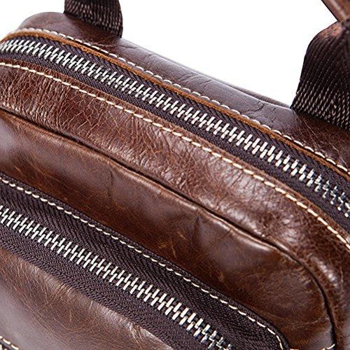 Zhhlinyuan lujo Mens Lightweight First Cowhide Leather Slim Small Professional Messenger Bag Shoulder Bag