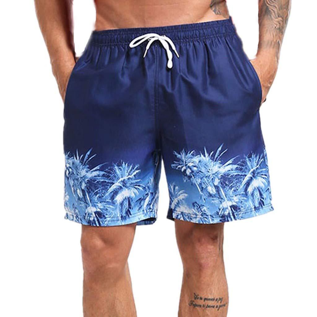 Jiechu Men's Short Swim Trunks,Best Board Running Swimming Beach Blue