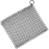 Stainless Steel Cast Iron Cleaner, Chainmail Scrubber, Skillet Grill Scraper With Hanging Ring Anti-Rust Made For Cast Iron Pans, Pre-Seasoned Pan, Waffle Iron, Dutch Oven Pans, 7.5inch x 6inch Square
