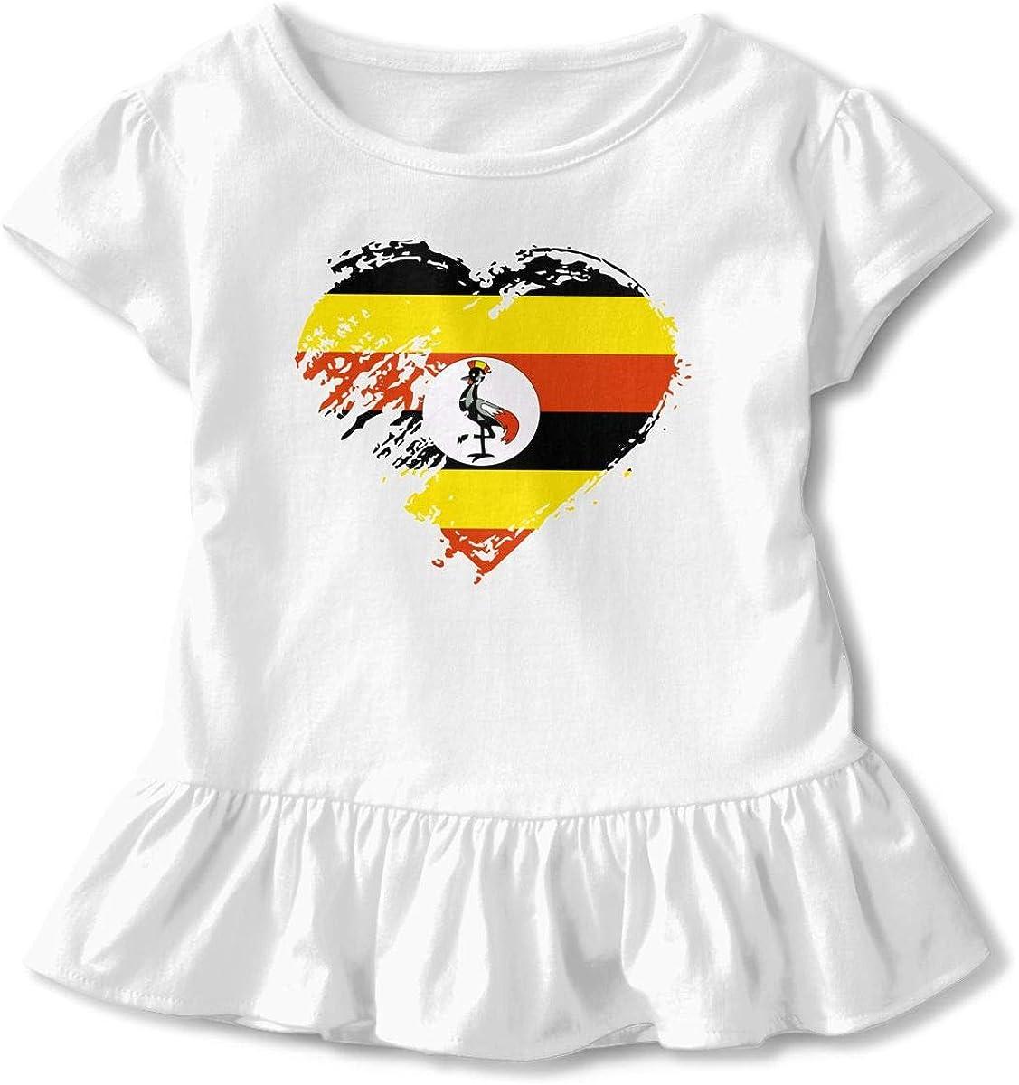 I Love Uganda Heart Flag-1 Girls Short Sleeve Fashion Shirts