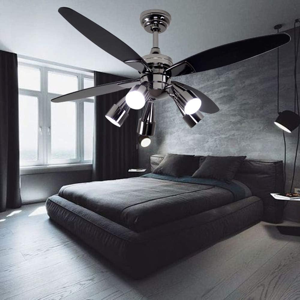 Andersonlight Fan Modern Black Ceiling Fan With 5 Rotatable Light Set Remote Control Indoor Quiet Fan Chandelier 48 Inch Amazon Com