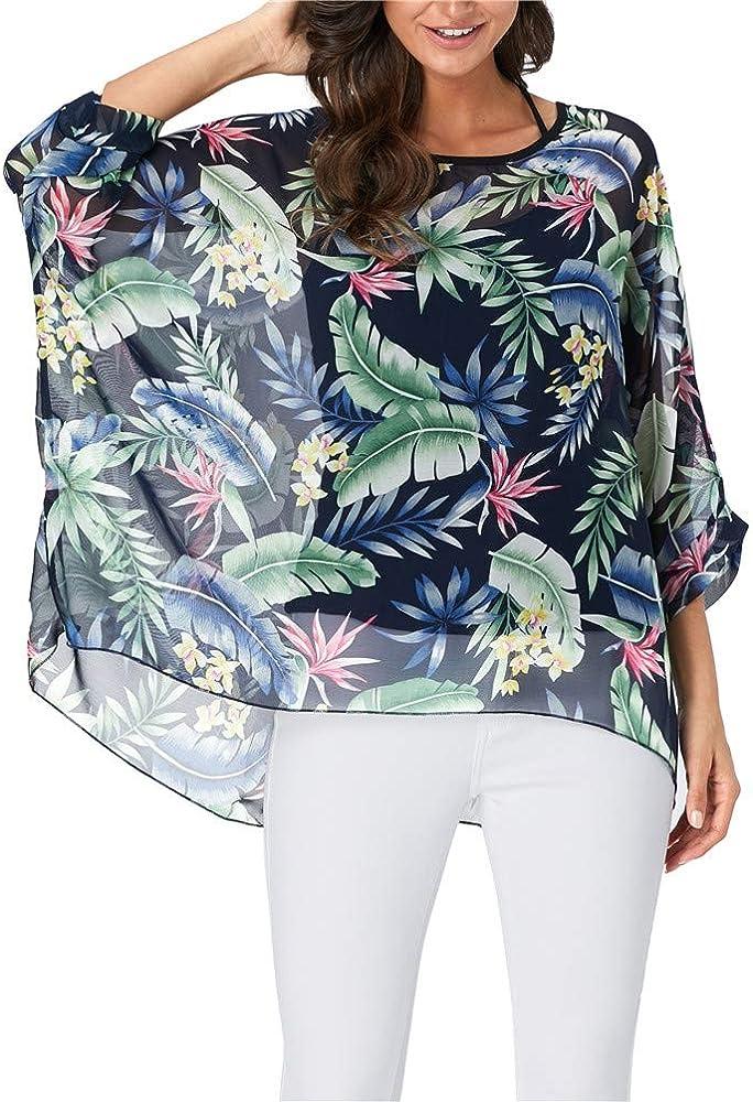 USA Boho Women Tunic Blouses Round Neck Bat Wing Long Sleeve Loose Shirt Tops