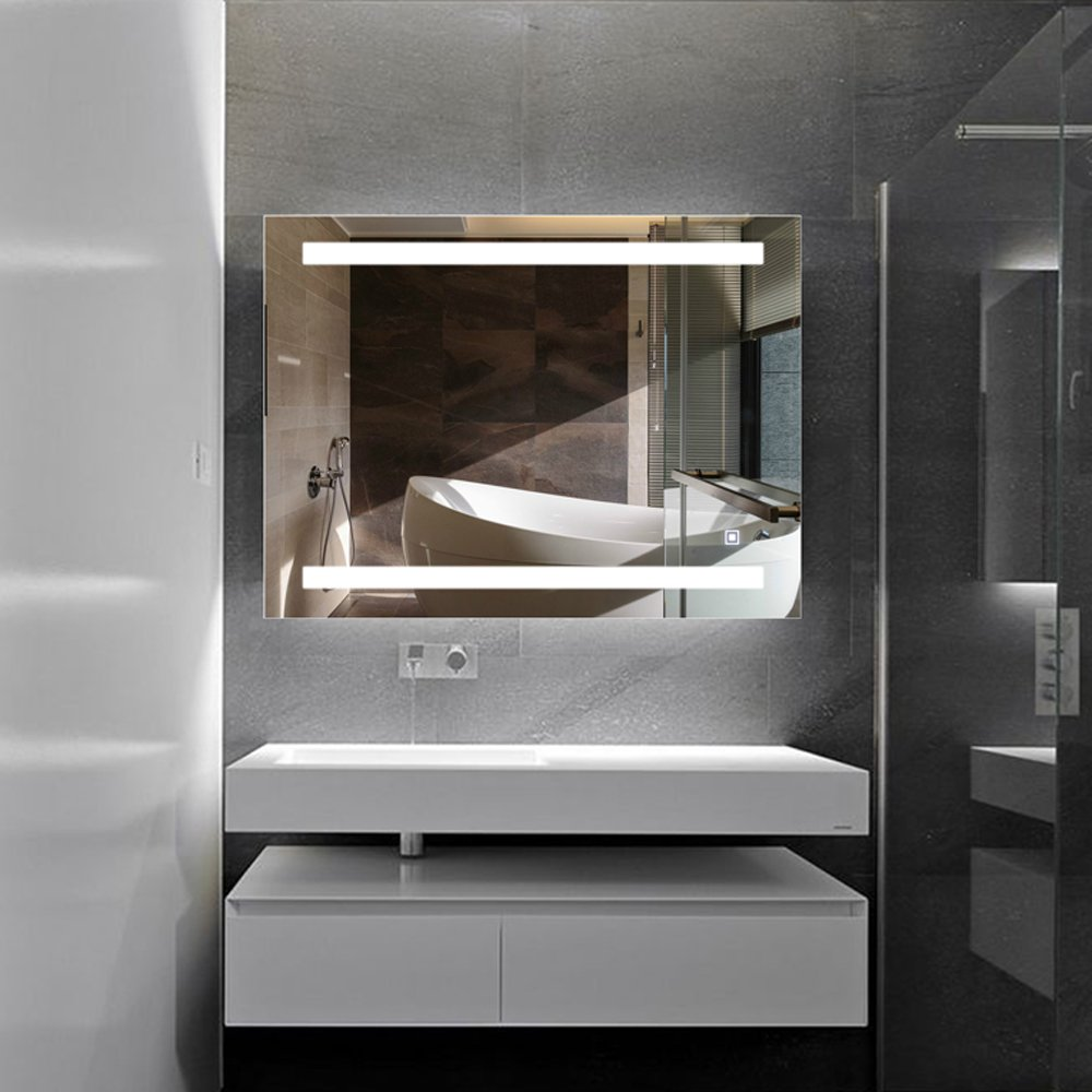 H&A Dimmable LED Backlit Mirror Anti-fog Illuminated Vanity Mirror Bathroom Mirror with Touch Button (32''x24'' border)