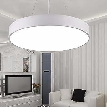 Minimalism Simple Hanging Light Modern Led Pendant Light Dining Room  Suspension luminaire suspendu Pendant Lamp Lighting Fixture,White 48W  Dia55cm ...