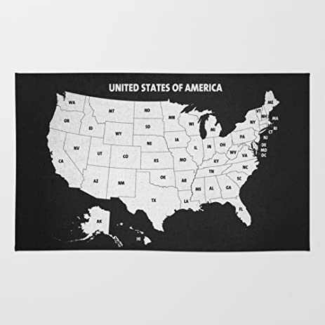 Amazoncom Society Black White USA Map Rug X PAZWAZ - Black and white usa map