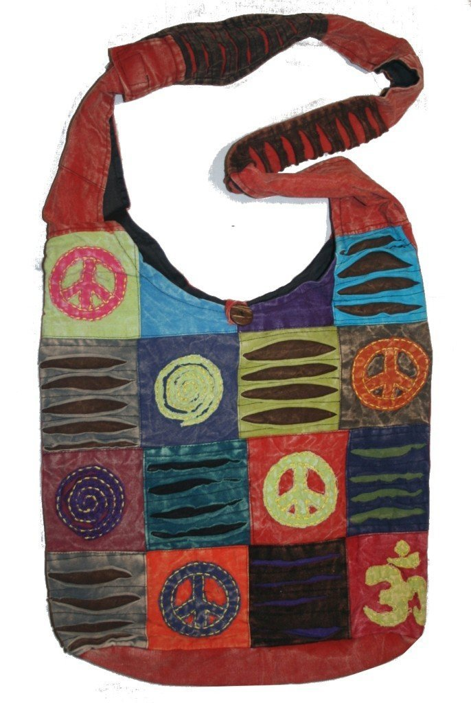 SJ 05 Patchwork Peace Om Spiral Cotton Shoulder Bag Purse (Red) by Agan Traders
