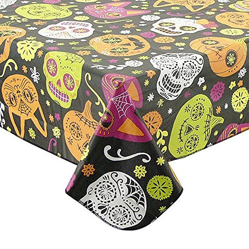 Halloween Sugar Skulls Vinyl Tablecloth 70 inch (Halloween Skulls Background)