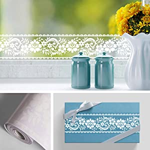 Livelynine Transparent Flower Wallpaper Border Stick and Peel Window Floral Wallpaper Borders for Bedrooms Bathrooms Lace Wall Decals for Kitchen Laundry Living Room Window Decals 4in x32.8 ft