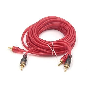 sourcingmap Rojo Cable Alargador RCA Macho a Macho Estéreo Sistema Audio Coche