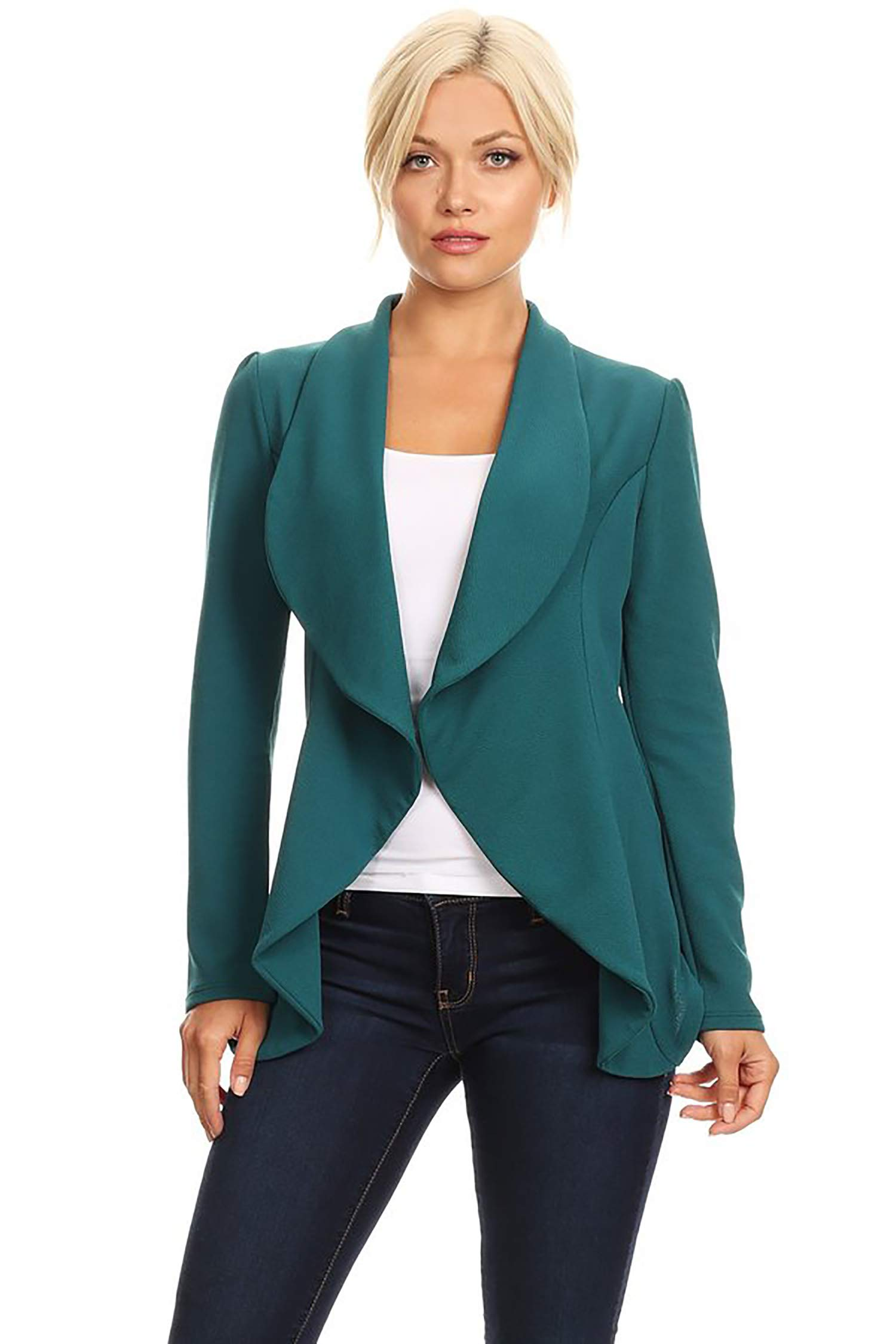 Women's Stretch Long Sleeves Open Front Blazer/Made in USA (S-3XL) Green L