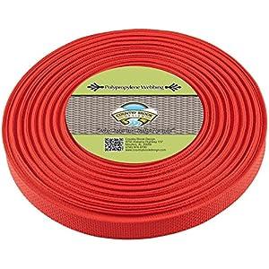 Country Brook Design | Polypropylene Webbing (1 Inch) (Red, 25 Yards)