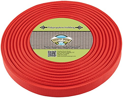 Country Brook Design | Polypropylene Webbing (1 Inch) (Red, 25 Yards)