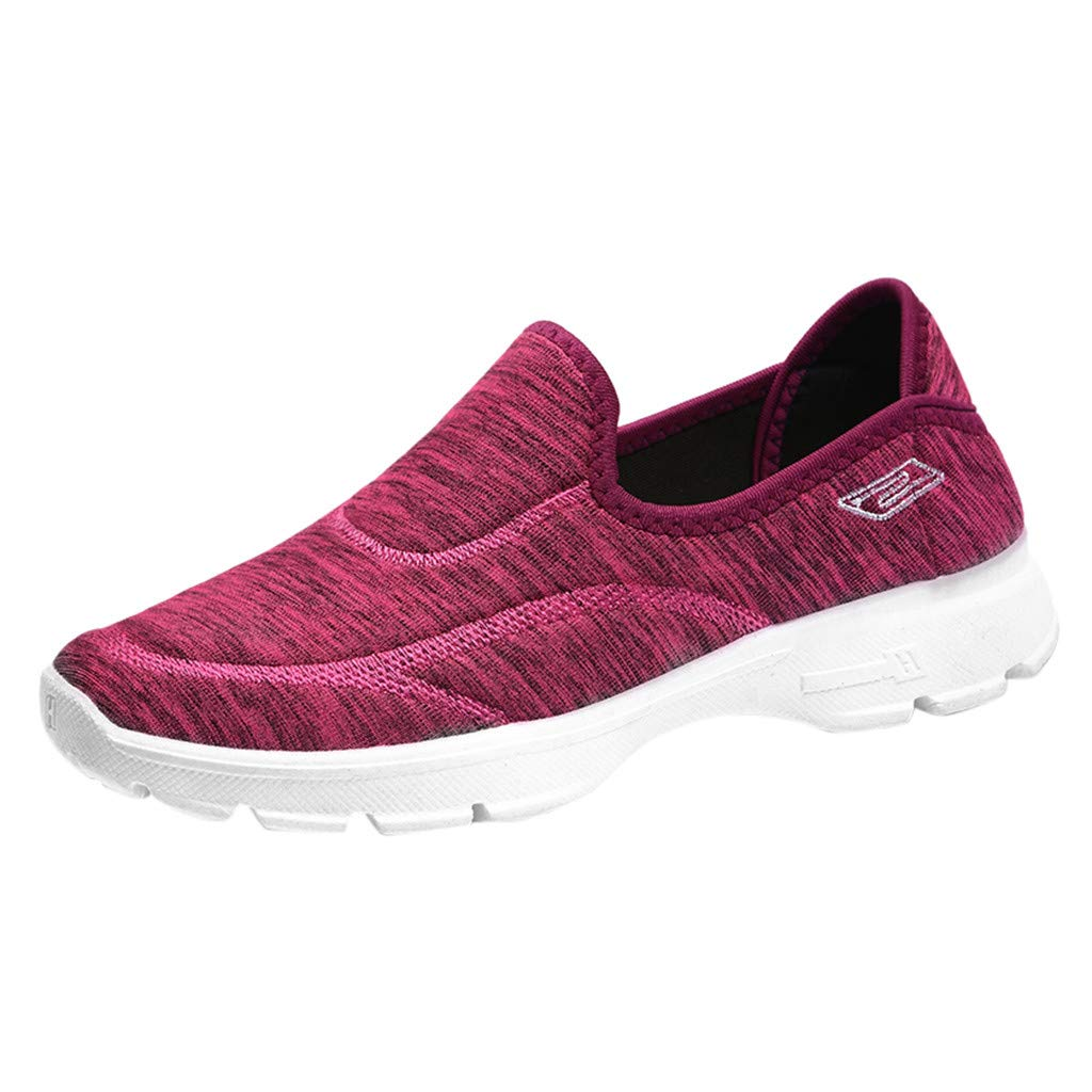 Garish  Women Lazy Shoes,Loafers Sneakers Flats Breathable Stretch Shoes,Outdoor Confotable Shoes Red
