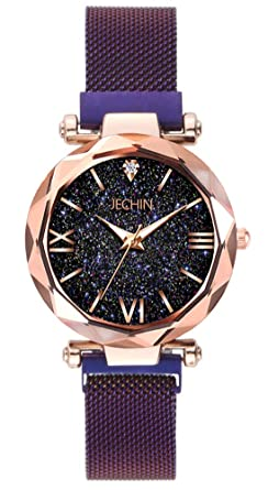 fadf2b9a1 Jechin Fashion Women's Beautiful Starry Sky Purple Magnetic Buckle Bracelet  Watches for Woman