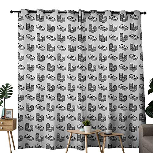 (NUOMANAN Blackout Curtains for Bedroom Money,Monochrome Stacked Coins and Dollar Bills Simple Doodle Style Economy Themed Pattern,Black White,Darkening Grommet Window Curtain-Set of 2 84
