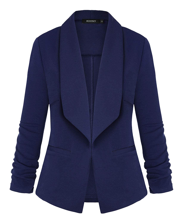 051nb ROOSEY Women's Stretch 3 4 Sleeve Casual Work Office Open Front Blazer Jacket