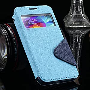 Elegant Luxury Window View Stand Case for Samsung Galaxy S5 I9600 Leather Cute Phone Cover Card Holder for samsung s5 --- Color:Black
