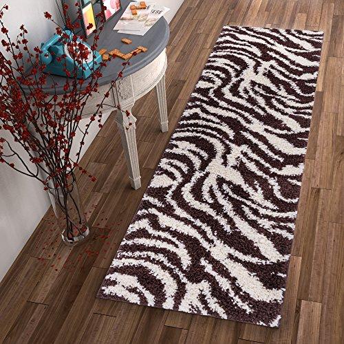 Brown Cream Zebra (Modern Animal Print 2x7 ( 2'' x 7'3'' Runner ) Area Rug Shag Zebra Brown Ivory Plush Easy Care Thick Soft Plush Living Room)