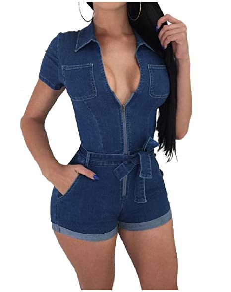 230e2d915d6b Nicelly Women s Cowboy Zipper Empire Waist Lapel Zip-up Jean Short-Sleeve  Sexy Lace