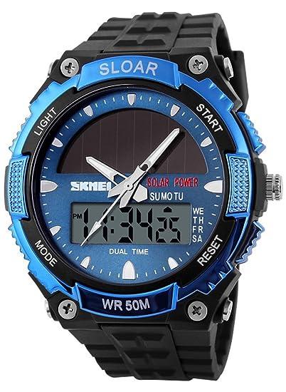 Skmei hombre reloj solar powered Wtach cuarzo doble tiempo deportes resistente al agua reloj de pulsera, color azul: Amazon.es: Relojes