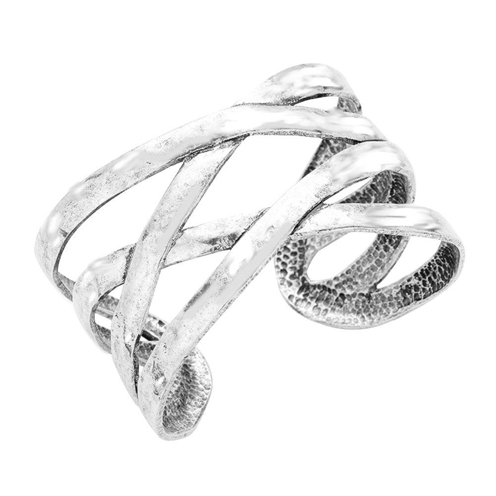 """Beaten, Distressed Vintage Look Silver-Tone Criss-Cross Open Work Cuff Bangle Bracelet 1 ½"""" Wide"""