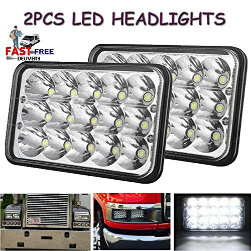 Lamp Bulb Sealed Beam (4x6 LED Rectangular Headlights Projector Lens Sealed Beam Replacement Xenon Headlamps Bulb H4651 H4652 H4656 H4666 H6545 for JEEP WRANGLER Peterbilt Kenworth FREIGHTLINER)