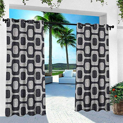 (Hengshu Abstract, Outdoor Curtain for Patio,Outdoor Patio Curtains,Modern White and Black Wave Pavement Pattern Fractal Looking Mosaic, W84 x L108 Inch, Black Pale Grey)