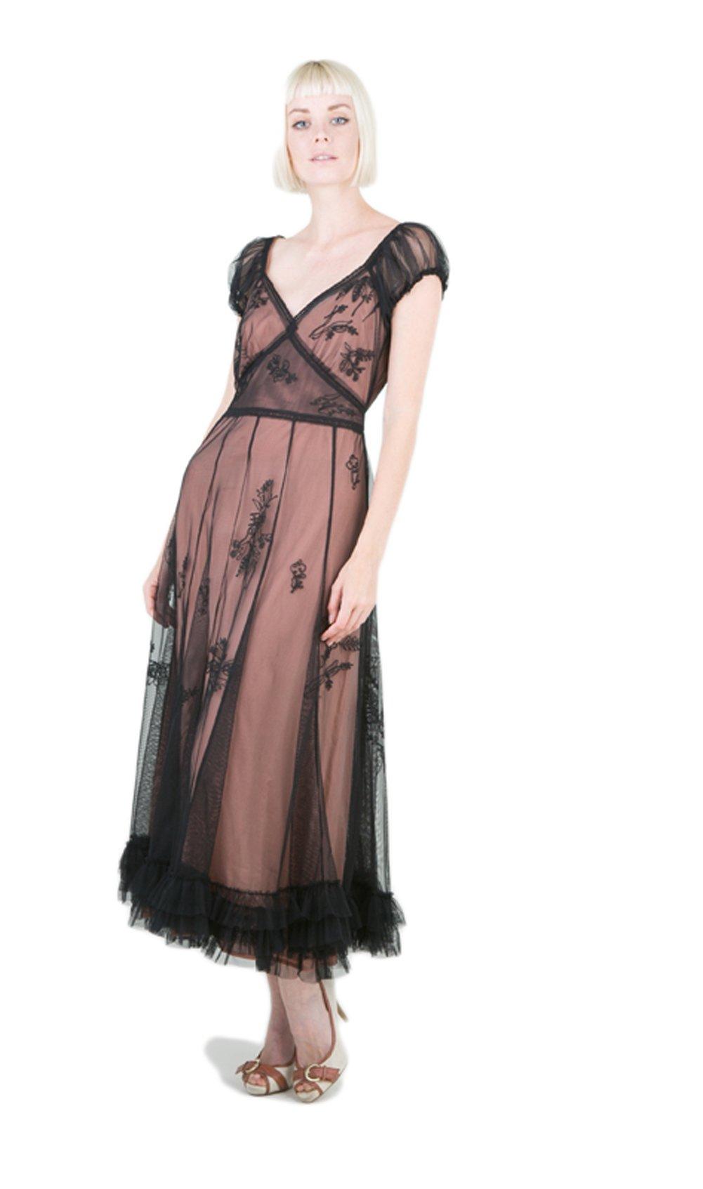 Nataya 40193 Women's Ballerina Style Gown Black/Rose Dress (Small)