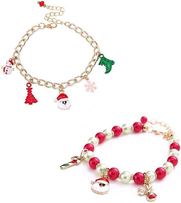 Wohlstand 2 Pcs braccialetto con ciondolo pendente a forma di renna di Babbo Natale,Braccialetto creativo e bello,Donne di Natale Babbo Natale cervo neve pupazzo di neve regalo braccialetto gioielli