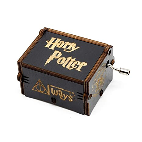 Caja de música de madera tallada antigua: Regalo de Harry Potter (Black)