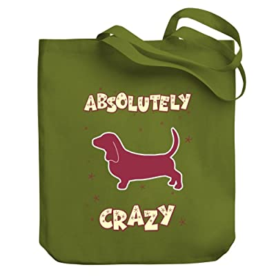 Teeburon ABSOLUTELY CRAZY Basset Hound Canvas Tote Bag