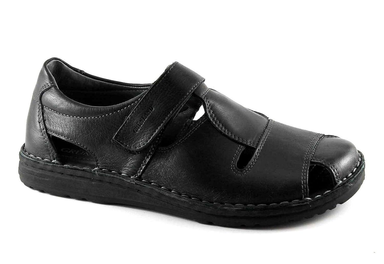 GRUNLAND GRÜNLAND LAPO SA1515 Zapato Negro Hombre Sandalia de Cuero Lágrima 46 EU|Nero