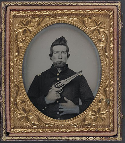 Army Model Revolver - Historic Photos Unidentified cavalry soldier in Union frock coat with Remington New Model Army revolver