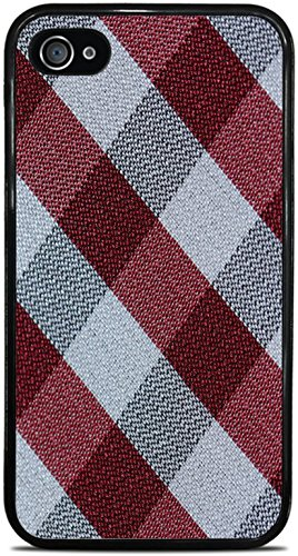 Flannel Textile Patter Black Grey Red Black Silicone Case for iPhone 4 / 4S by Moonlight Printing