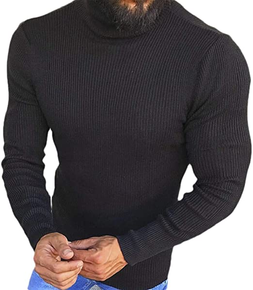 Fubotevic Mens Knit Pure Color Long Sleeve Turtleneck Pullover Sweater Jumper Top