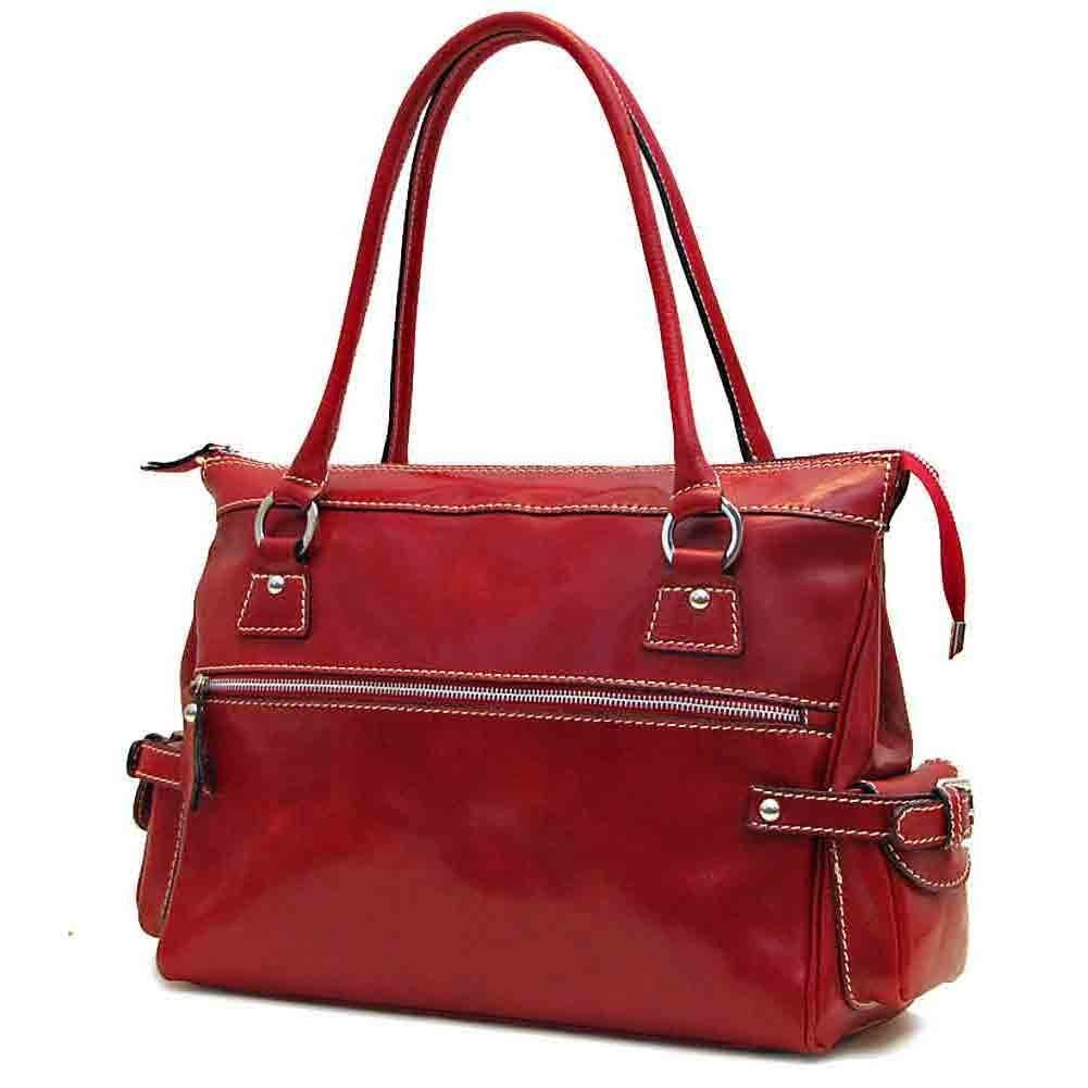 Floto Leather Monticello Handbag in Tuscan Red