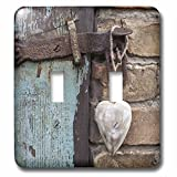 old barn lights - 3dRose (lsp_266524_2) Double Toggle Switch (2) Wooden Heart Hanging on Old Barn Door