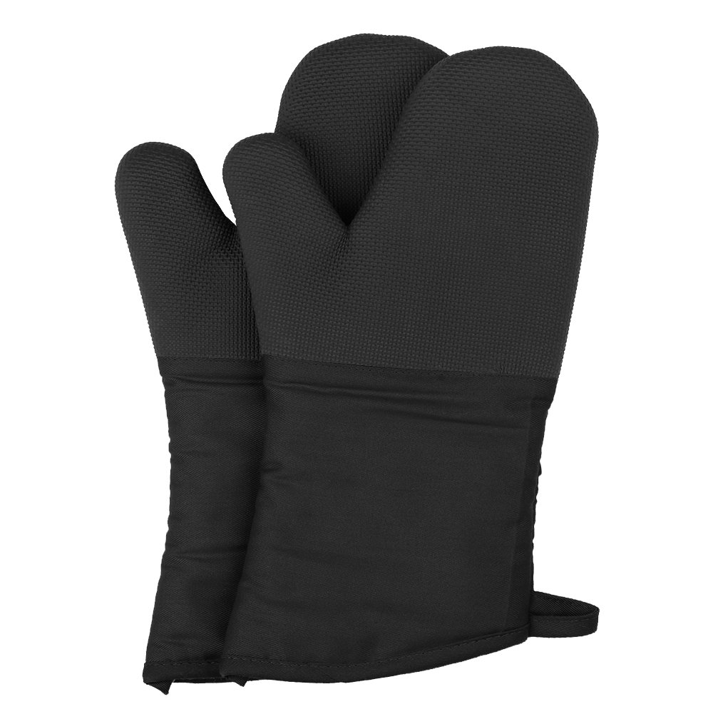 Magician Heat Resistant Oven Mitts - Non-Slip Grip Pot Holders for Kitchen Cooking Baking, up to 450˚F Heat Resistant, Heavy Duty Oven Gloves - 1 Pair (Black)
