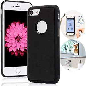 Anti Gravity iPhone 8 Case, iPhone 7 Case, iPhone 6/6s Case, Magic Nano Suction Sticky Black Anti Gravity case for iPhone 6/6s/7/8 Selfie Stick on Smooth Surface Cover with dust Proof Film