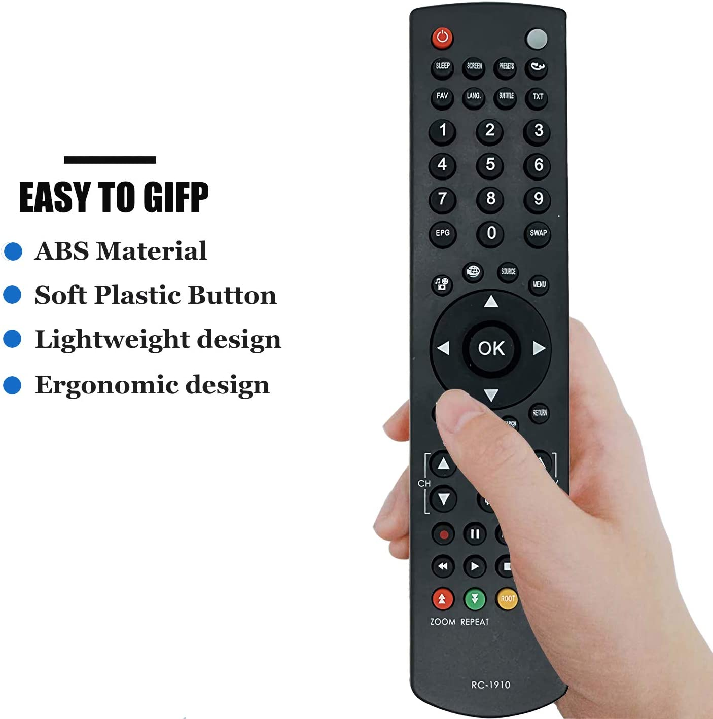 RC1910 Replacement Remote for Toshiba TV Remote Control for Toshiba RC-1910 Smart LED LCD Plasma TV No Setup Required TV Universal Remote Control