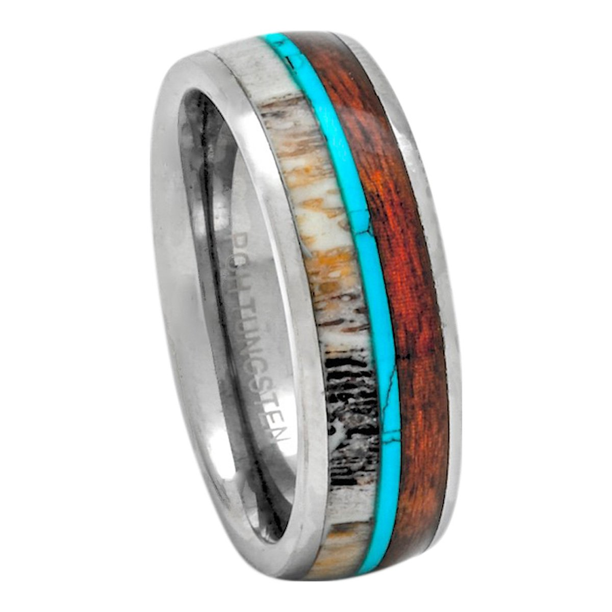 PCH Jewelers Deer Antler Ring Tungsten with Turquoise and Koa Wood 8mm Comfort Fit Band (12)