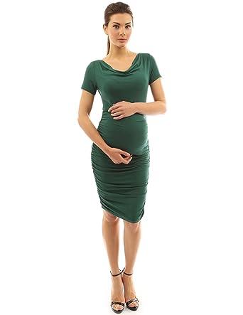 31d2c6e592f91 PattyBoutik Mama Cowl Neck Short Sleeve Maternity Dress (Dark Green Small)