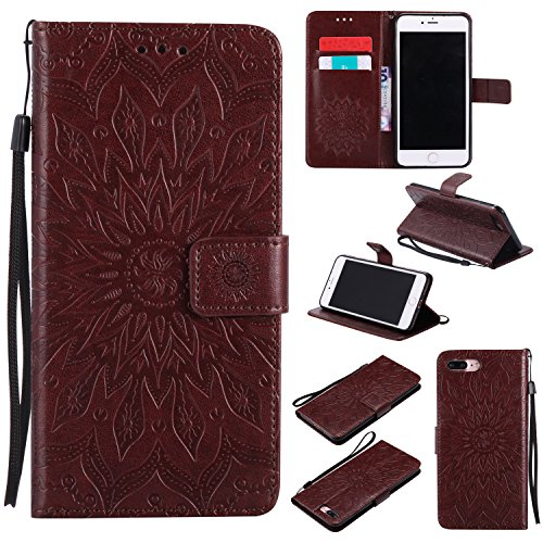 Price comparison product image iPhone 7 Plus Wallet Case,A-slim(TM) Sun Pattern Embossed PU Leather Magnetic Flip Cover Card Holders & Hand Strap Wallet Purse Case for iPhone 7 Plus [5.5 Inch] - Brown